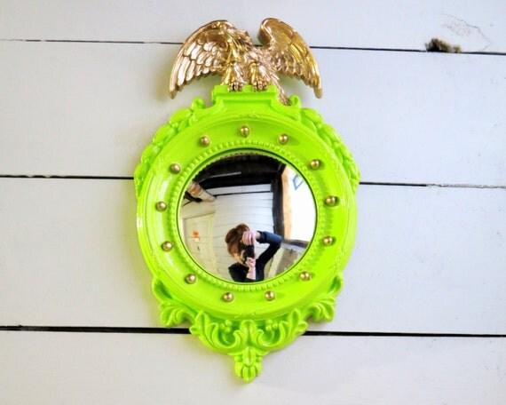 Vintage Convex Mirror Ornate Framed Chartreuse Green Gold Bullseye Eagle Wall Mirror