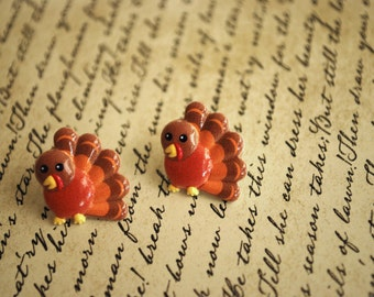 Turkey Earrings -- Turkey Studs, Thanksgiving Earrings, Gobble gobble