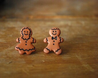 Gingerbread Cookie Earrings -- Gingerbread Man and Woman, Silver