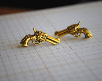 Gun Studs -- Revolver Pistol Earrings, Gun Earrings, Gold Gun Earrings