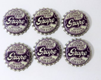 6 Grape Soda Bottle Caps, Cork Backs, Unused Vintage Dark Purple, Cursive Writing