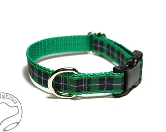 """Hibernian or Hibs Tartan Dog Collar - FC Plaid - 3/4"""" (19mm) wide - Quick Release or Martingale Dog Collar - Choice of collar style and size"""