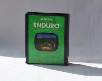 Vintage Atari 2600 Game Enduro, Atari, 1983, Racing, Race Cars, National Enduro, Endurance Race, Cross Country, Formula One, Night Racing