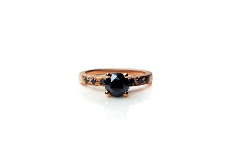 Rose gold black diamond engagement ring vintage inspired