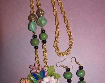 Vintage Handmade Ooak Butterfly Flower Garden Rhinestone Enamel Flower Necklace Earrings Set