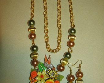 Vintage Handmade Ooak Morning Flower Garden Rhinestone Enamel Flower Necklace Earrings Set