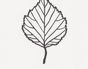 "Block print: Birch leaf - limited edition hand pulled fine art block print (5 x 7"")"