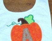 Baby Boy or Girl Bib / Monogrammed Fall Thanksgiving Pumpkin - Personalized