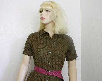 Vintage Brown 1960s Day Dress Size 9 by Jeune Leique by Cherberg
