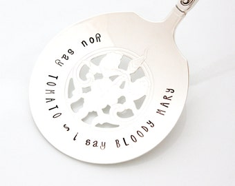 Tomato Sever. You Say Tomato, I Say BLOODY MARY. Vintage hand stamped tomato server for housewares and table decor