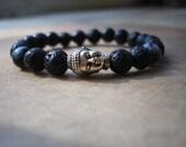 Mens Lava Stone Bracelet, Mens Buddha Bracelet, Unisex Bracelet, Zen, Snowflake Obsidian