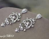 Swarovski Bridal Earrings, Crystal , Wedding earrings, Rhinestone earrings, Art Deco, Clear, Chandelier Bridal Earrings