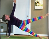 LAST PAIR of Large Mid Rise Yoga Pants, Running Leggings, Yoga tights. Rainbow with silver sparkly chakra pride happy fancy colorful tights.