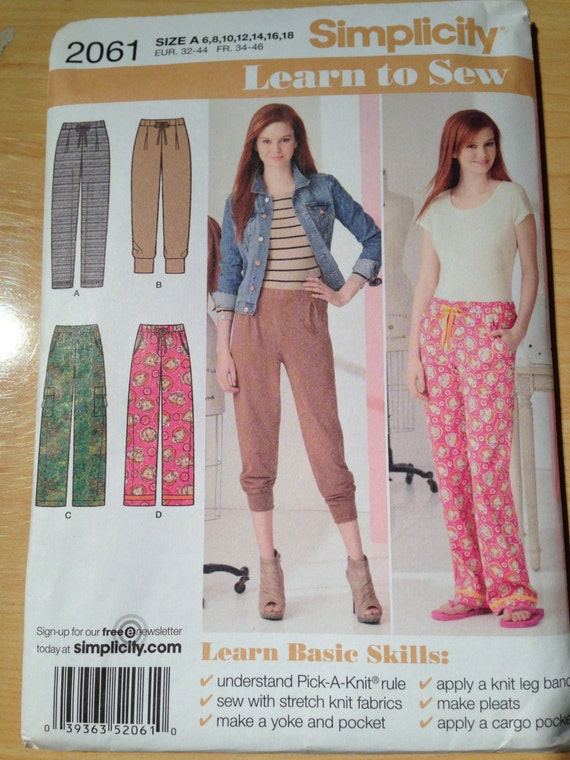Simplicity Sewing Pattern 2061 Misses Knit Pants and Woven Pants Size 6-18