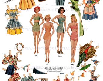 1940s Vintage Paper Dolls Nostalgia WWII Era Whitman Paper Dolls Printable Download Bombshell Ephemera Girlfriends Paper Dolls Collage Craft
