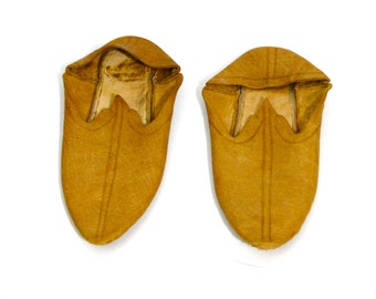 Antique Shoes Children 1800's Victorian Kid Leather Slippers Authentic 19th Century Shoe Fashions Collectible Historical