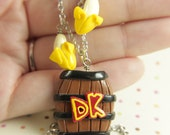 Donkey Kong inspired DK barrel necklace with option of bananas