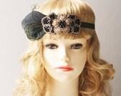 Flapper Feather Beads Rhinestones Beaded Headband - 20s 1920s Art Deco Hairpiece Headpiece - Black Gold