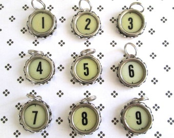 Cash Register Key Charm Pendant Vintage Cream and Black Key Numbers 1, 2, 4, 6, 7, 8 and 9