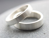 4mm + 5mm Argentium silver brushed wedding rings - handmade to order
