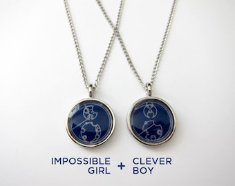 Doctor Who Gallifreyan Pair of Necklaces - Clever Boy + Impossible Girl