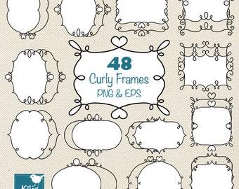 48 Curly Frames, Doodle Digital Labels, Frames Digital Clipart, Digital Scrapbooking Labels, Ornamental Labels, png & eps - INSTANT DOWNLOAD
