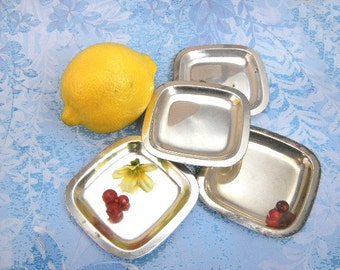 Mini dish set of 4 vintage silver plated squares by Napier Co. for holding tea bags, iced tea spoons, condiments or jewelry