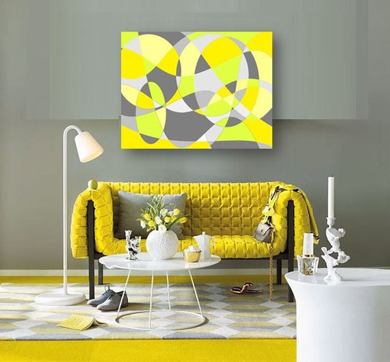 Yellow Black And Gray Wall Decor : Yellow and gray abstract art handpainted on canvas