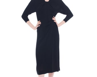 1940s Vintage Intelligent Posh Dorothy O'Hara Black Dress  Size: S/M