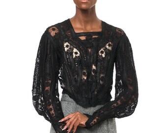 1880s Vintage Romantic Black Victorian Blouse  Size S/M