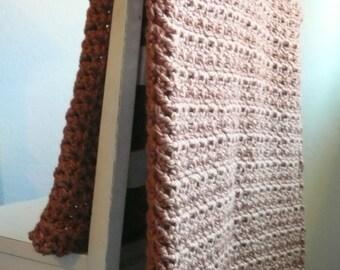 Crochet Blanket, Chunky Crochet Blanket, Wool Blanket, Caramel Orange Throw Blanket