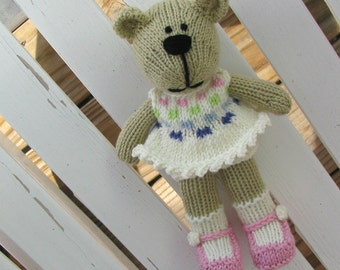 Hand Knitted Bear Toy - Stuffed Animal - Stuffed Bear - Plush Toy - Knitted Toy - Kids Toy - Teddy Bear - Small Toy - Plush Doll Jenna