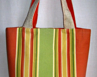 SALE, Tote Bag, Sunbrella Tote Bag, Tote Bag Orange Yellow Green Stripes, Beach Bag, Women's Purses - Handmade by iDesign For You