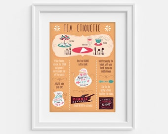 Tea print. Illustrated poster on the etiquette of tea parties (12,60 x 18,10) Handlettering