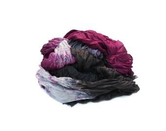 black silk scarf - Mysteriously Yours -  burgundy, grey, black silk ruffled scarf.