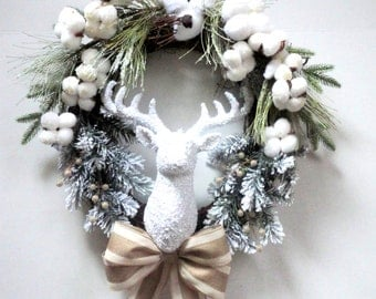 READY TO SHIP - Winter Wreath - Christmas Wreath - Deer Head Wreath - Holiday Decor - Winter White - Pine Wreath - Burlap Wreath - Grapevine
