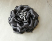 Silver Hair Accessory, Gray Hair Accessory, Gray Hair Fascinator, Gray Satin Hair Flower, Gray Floral Brooch, Prom Hair accessory