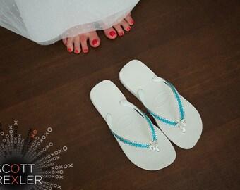 Custom Crystal Flip Flop Silver Starfish Havaianas or Wedge Heel Turquoise Blue Aqua or Mint Sea Foam Green w/ Swarovski Beach Wedding Shoes