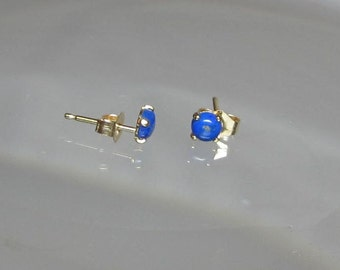 Natural Lapis Lazuli Studs Earrings Set in 14Kt Gold Filled or Sterling Silver Stud Post 4mm or 6mm Earrings