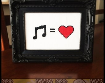 Music is Love Printable Cross Stitch Pattern (PDF) - Immediate Download from Etsy - Red Heart Note Unique Needle Craft