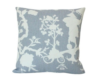 Schumacher Shantung Silhouette Pillow Cover in Lavender