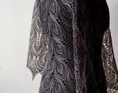 Summer Linen shawl, hand knit dark pearl  Linen wrap - gray linen shawl