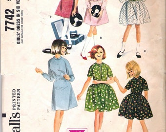 """Vintage 1965 McCall's 7742 Girl's Dress in Six Versions Sewing Pattern Size 8 Breast 26"""""""