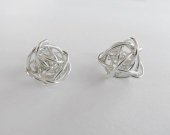 Sterling silver wire cage earrings