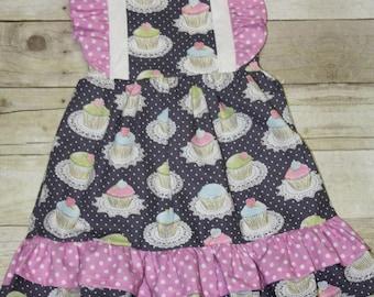 Cupcake Sparkle Ruffle Knot Dress Baby, toddler, and girls nova dress sz 12m, 18m, 24m/ 2, 3,4,5,6,7,8 Michael Miller tea party dress