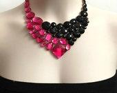 Jet black and fuchsia rhinestone bib necklace