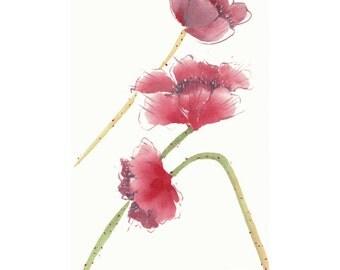 Red Poppy Original Watercolor Painting Chinese brush Art