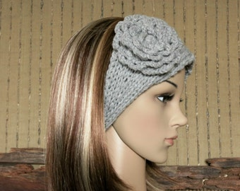 Knitted Headband, Womens Grey Chunky Knit Ear Warmer, Crochet Flower Head Wrap, Hair Wrap Hippie Turban Nchanted Gifts