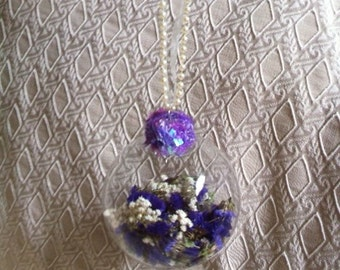 Handmade Glass Ornament With Purple Status And Babies Breath