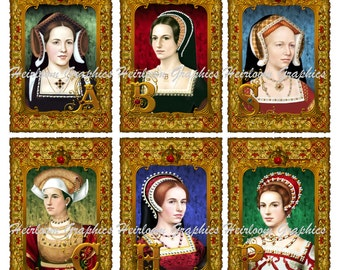 Six Wives Of Henry VIII Medieval Digital Download - Catherine Aragon Anne Boyeln Jane Seymour Anne Cleves Katherine Howard  Parr